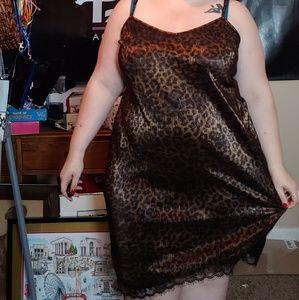 Plus size leopard slip dress